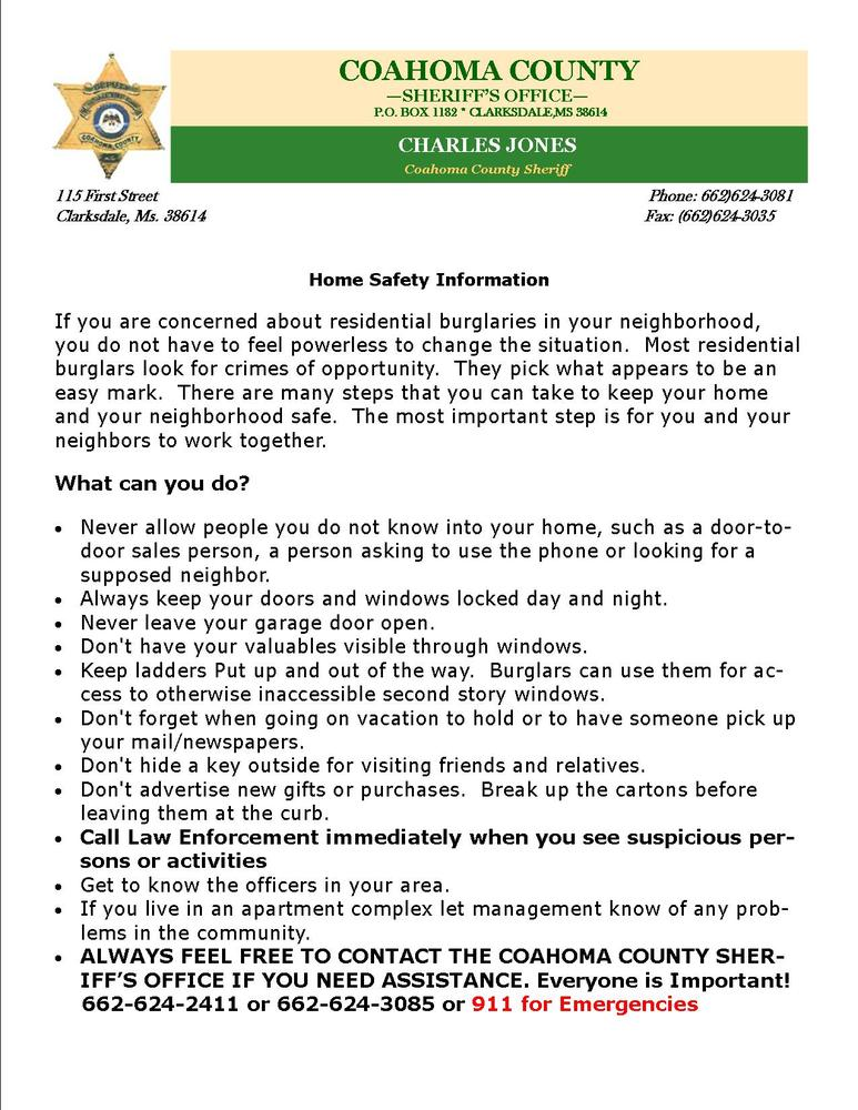 Home Safety Information